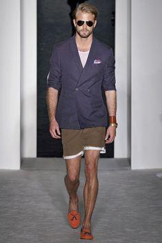 Michael Bastian Spring 2013 Menswear Fashion Show Blue Jacket, Fashion Show, Mens Fashion, Fashion Design, Fashion Ideas, Michael Bastian, Unique Socks, Short Models, Dapper Gentleman