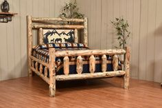 Knotty Pine Collection Bed With Silhouette Headboard displays its uniqueness, made by Amish master crafters!
