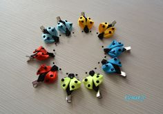 Kanzashi clips in the form of two ladybirds. Charming insects in the diameter about 5 cm are made of a satin ribbon, a metal clip 4,5 cm long. Is
