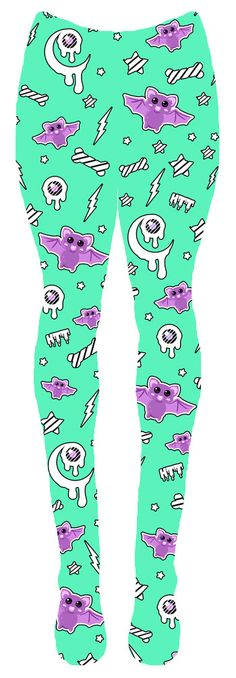 Pre-order  Milky Lavender Night Tights (Mint) fairy kei,  printed tights, kawaii, creepy cute, eye, bones, bats. $25.00, via Etsy.