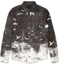 Black Blackbird Shirt -- Making notes: spray bottle of bleach+water solution and a stencil, with non-porous surface beneath! Then use a sponge to blot fabric?