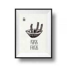 PAPAS FRITAS Serigrafía artística A4 realizada en papel Cyclus 100% reciclado de 250 gramos. #filtires #arte #serigrafía #literatura #cultura #artesanía