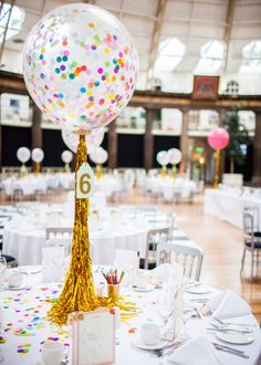 Balloon Wedding Centrepiece - Inspired Wedding Devonshire Dome With Bride In Phase Eight Wedding Dress And Brightly Coloured Decor With A Pompom Bouquet & Images by Joanna Bongard Photography Balloon Centerpieces Wedding, Balloon Table Centerpieces, Wedding Balloons, Centrepieces, Party Decoration, Birthday Decorations, Wedding Decorations, Wedding Banners, Rainbow Balloons