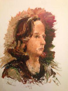 Meisje. Olieverf aangebracht met paletmes. 2006