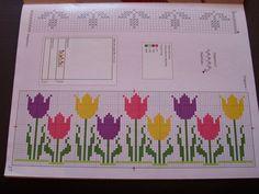 De toalla 50 x 140 cm retro flor//tulipán en gris