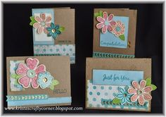 Seaside set of 4 cards from Wishes how-to-book. Products used for cards… C1599 Pretty Petals S1411 It's the Little Things (Nov 2014 SOTM) Z1686 Art Philosophy Cricut Bundle X7192B Seaside paper Lagoon & Kraft Cardstock Z2461 Peacock Green Shinhan Marker Z2012 Gold Sequins Z1985 Gold Shimmer Trim Z1998 Chevron Border Punch Inks used: Hollyhock, Sorbet, Pear, Lagoon, Glacier & Desert Sand