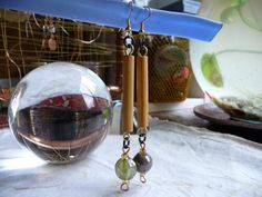 Mismatched Indian Glass Bead, Bamboo Dangle Drop Earrings Primitive, Raw by cherokeedancing. Explore more products on http://cherokeedancing.etsy.com