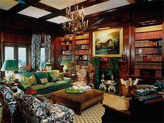 Green velvet in a library by Mark Hampton