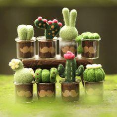 Circle wood wool felt fleshier plant poke fun material kit mini bonsai plants diy