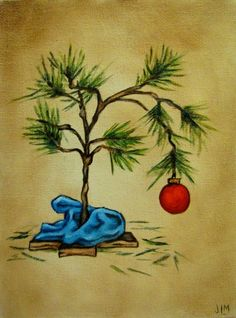 Charlie Brown Style Christmas Tree - original oil painting Plus Charlie Brown Tree, Charlie Brown Christmas Tree, Christmas Rock, Vintage Christmas, White Christmas, Xmas, Grinch Christmas, Whimsical Christmas Art, Peanuts Christmas Tree