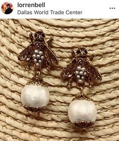 Create a buzz in Lorren Bell's bee earring. Available at Keeping Up With The Joneses. Hair Ornaments, Costume Jewelry, Bee, Pearl Earrings, Pearls, Create, Hair Decorations, Honey Bees, Pearl Studs