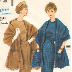 Late 1950s pencil skirt & fringed stole pattern  by PatternVault, $30.00