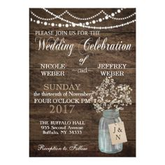 Rustic Barn Wedding Wood Mason Jar Babys Breath Card - tap to personalize and get yours Country Wedding Invitations, Rustic Invitations, Wedding Invitation Design, Invites, Shower Invitations, Invitation Cards, Mason Jar Cards, Rustic Wedding, Wedding Ideas