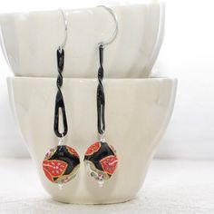 Oriental Flower Earrings Flower Waves  Black by LavenderRabbit