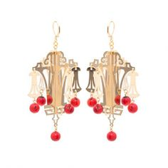 BRINCO CANTÃO METAL OURO C/ CORAL VERMELHO François Lesage, Coral, Drop Earrings, Jewelry, Gold, Rouge, Ear Rings, Jewlery, Jewerly