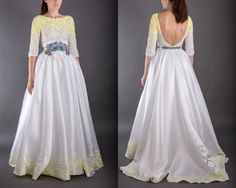 Yellow-white princess dress with sequins top by AtelierDeCoutureJK