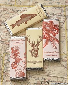chocolate bars with vintage graphics...graphics fairy is a great source...