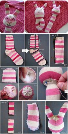Brilliant DIY Sock Animals are not just cute and less expensive to create but also extremely fun. So, if you have some socks languishing in your wardrobe, Sock Crafts, Baby Crafts, Sewing Crafts, Sewing Projects, Baby Toys, Kids Toys, Baby Baby, Sock Bunny, Diy Bebe