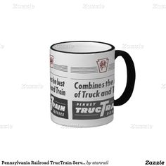 Pennsylvania Railroad TrucTrain Service Ringer Coffee Mug; $18.95 - #stanrail  - Funny, unique, pretty, or personal, you've found the perfect coffee mug design. Now, enhance your mug with a colored rim & handle. Zazzle ringer mugs are available in ten distinctive hues: black, lime, maroon, navy blue, orange, powder blue, red, yellow, hunter green, and light blue. Use the color selector on the right-hand side of this page to find the best match for your design.  @stanrails_store