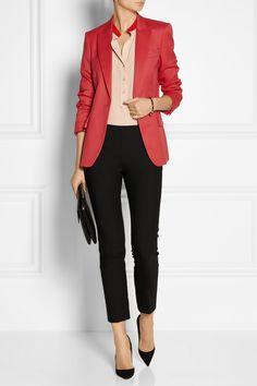 Stella McCartney | Iris wool-twill blazer | Stella McCartney | Estelle silk crepe de chine shirt | Stella McCartney | Velez wool-twill skinny pants | Gianvito Rossi | Leather pumps | Stella McCartney | Faux leather shoulder bag