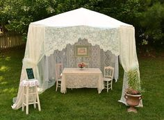 Artful Affirmations: garden tent made out of lace tablecloths, curtains, and a sheet: