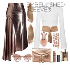 """""""Embellished Sleeves"""" by juliana84-more ❤ liked on Polyvore featuring Roland Mouret, Off-White, Urban Expressions, Charlotte Russe, Cutler and Gross, Skinnydip, Kendall + Kylie, Balmain and Clarins"""