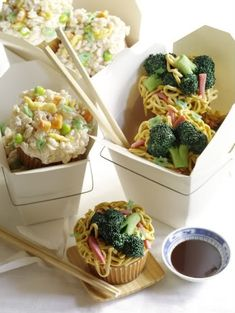 Chinese take out cupcakes (Lo Mein) Jama rattigan's alphabet soup via what's new in cupcakes book by Karen Tack