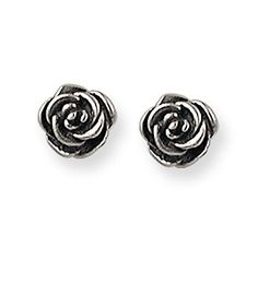 A classical emblem of passion and romance, these beautifully crafted rose ear posts shine in sterling silver or gold.