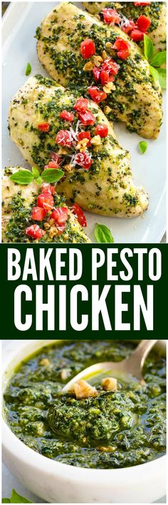 Pesto Chicken is a healthy baked dish that is loaded with flavor. The pesto sauce is made with fresh basil, spinach, garlic, walnuts and Parmesan cheese that gets added right on top of the tender chicken to make each bite irresistible!