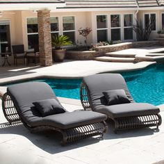 These Miller Grey Wicker Lounge Chairs Give You The Perfect Spots To  Recline In Elegant Comfort