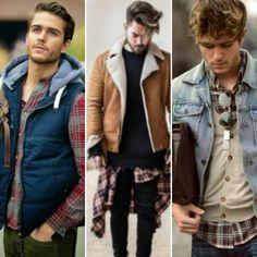 3 formas styles de usar camisa xadrez masculina nesse inverno  1)  Sobreposição com t 87b673fdb66ad