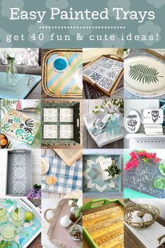These beautiful painted trays will be a perfect addition to your home decor! Grab a paintbrush and try one of these easy DIY projects. Easy Painting Projects, Diy Craft Projects, Diy Painting, Decor Crafts, Diy Crafts, Craft Ideas, Wood Crafts, Diy Ideas, Sea Glass Mosaic