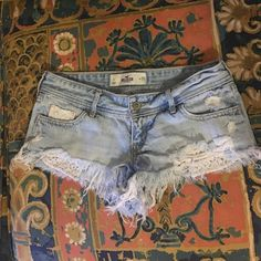 Hollister denim w lace detail Hollister cut off shorts with cute lace detail. Great condition. Smoke free/ pet free home. Hollister Shorts Jean Shorts