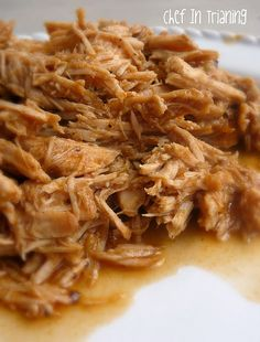 Cafe Rio Sweet Pork    2 pounds pork roast  2 cans Coke (NOT diet)  1/2 c. brown sugar  1/2 tsp garlic salt  1/4 c. water  1 (4 oz) can diced green chilies  1 (10 oz) can enchilada sauce (I used Old El Paso and I used only 3/4 of can)  1 c. brown sugar