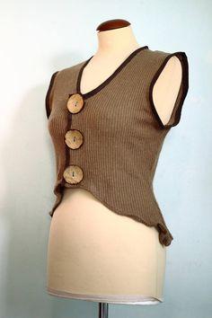 Gile/top in maglia con grandi bottoni in legno/gilè bohemien