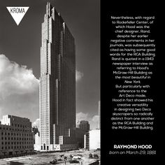 - Born Today: was an American architect who worked in the Art Deco style. Rockefeller Center, Art Deco Fashion, Cool Words, Skyscraper, Architecture, American, Day, Building, Design