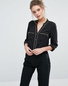 Oasis Pajama Style Shirt With Piping Detail