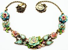 Michal-Negrin-Vintage-Victorian-Antique-Style-Rose-Crystal-Beads-Floral-Necklace