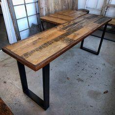 Custom reclaimed brown barn board desk on satin black legs by barnboardstore.com