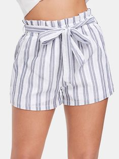 Striped High Waist Shorts with Belt - capsule wardrobe - Mini Shorts, Belted Shorts, Striped Shorts, High Waisted Shorts, Patterned Shorts, Modest Shorts, Polyester Spandex Fabric, Spandex Material, Short Elegantes