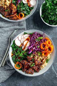 hoisin glazed tempeh bowls with sesame kale and hoisin sauce drizzle