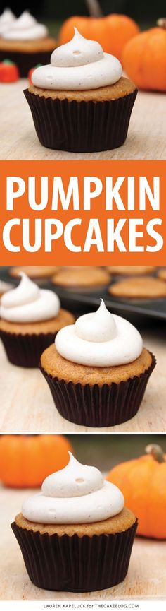 Easy pumpkin cupcakes with cinnamon cream cheese frosting, made from scratch…use baking soda and cream of tartar instead of baking powder Fall Desserts, Just Desserts, Delicious Desserts, Yummy Food, Baking Recipes, Cookie Recipes, Dessert Recipes, Cupcake Recipes Easy, Cupcake Recipes From Scratch