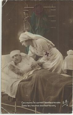 ☤MD ☞ ☆☆☆ WW1 RED CROSS Nurse, Medical, Hospital w. French Soldier, Patriotic