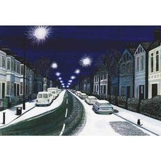 "Art Print ""Snowy night in Peckham A4 winter landscape print, snow... ($13) ❤ liked on Polyvore featuring home, home decor, wall art, london wall art, framed wall art, snow paintings, photo painting and london paintings"