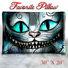"Cheshire Cat Smile - Pillow Size 30"" x 20"""
