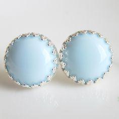 want!!!!!!!!!Earrings Light Blue Pale Blue Bridesmaid Earrings Romantic Baby Blue Wedding Milky Blue Wedding Bridal Jewelry. $12.00, via Etsy.