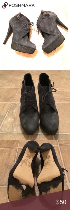 """Topshop suede platform bodies lace up shoes with elastic/ buckle detailing, stay stylish and comfy in these! other than the soles, these shoes look like new! blue/black suede. 1"""" platform, 5.5"""" heel. leather upper. Topshop Shoes Ankle Boots & Booties"""