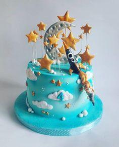 Rocket cake by Mariya Gechekova Fondant Cakes, Cupcake Cakes, Cupcakes, Solar System Cake, Birhday Cake, Rocket Cake, Button Cake, Galaxy Cake, Novelty Cakes