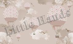 Balloon Ride IV - The wallpaper can be ordered in various sizes. We are like tailors, the wallpaper will fit perfectly on your wall, you just have to give us the measures you need! Girl Room, Girls Bedroom, Baby Room, Bedroom Ideas, Little Hands Wallpaper, Balloon Rides, Create Awareness, Hand Illustration, Little Ones