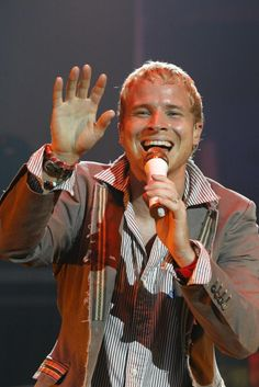 Brian Littrell with the Backstreet Boys performs in concert on the opening night of their 2005 world tour, at the Sound Advice Amphitheatre , in West Palm Beach, Florida, on July 22, 2005. (UPI Photo/Michael Bush)